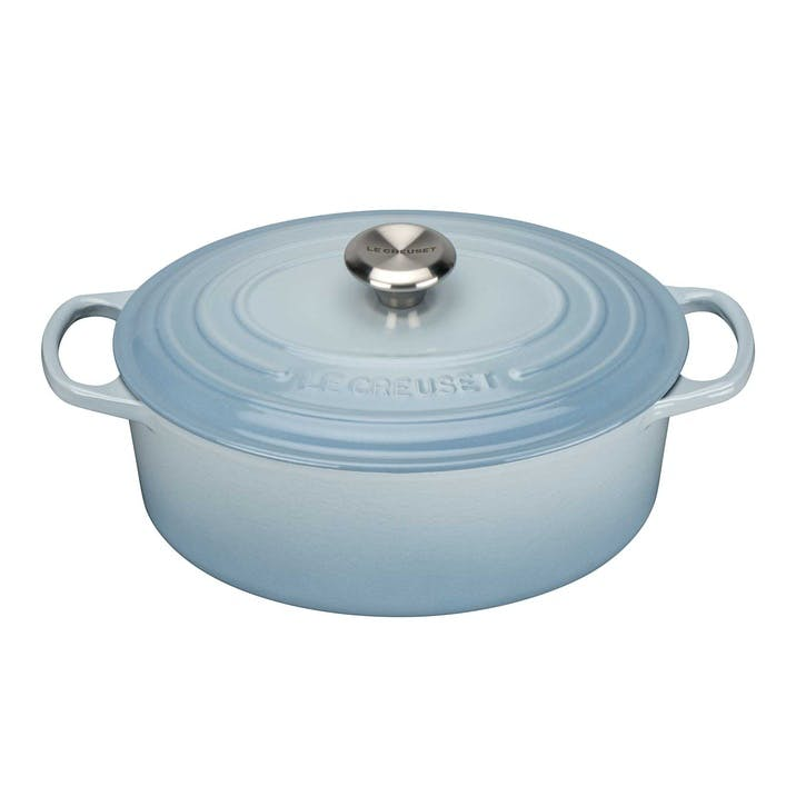 Cast Iron Oval Casserole - 29cm; Coastal Blue