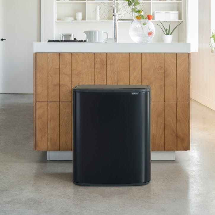 Bo Large Recycling Bin with 2 Inner Buckets, Matt Black