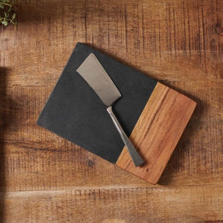 Fala Small Chopping Board, Slate & Acacia