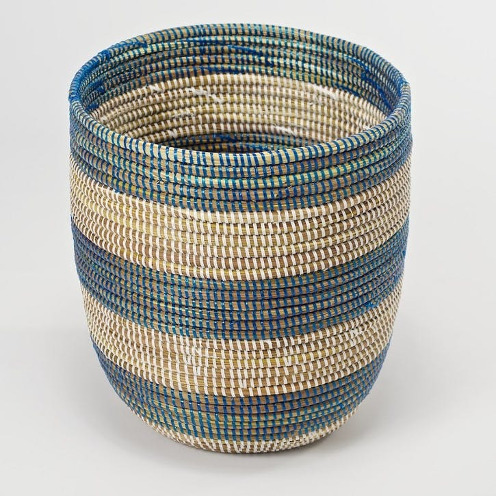 Handwoven Wastepaper Basket, Natural/ Blue Stripes