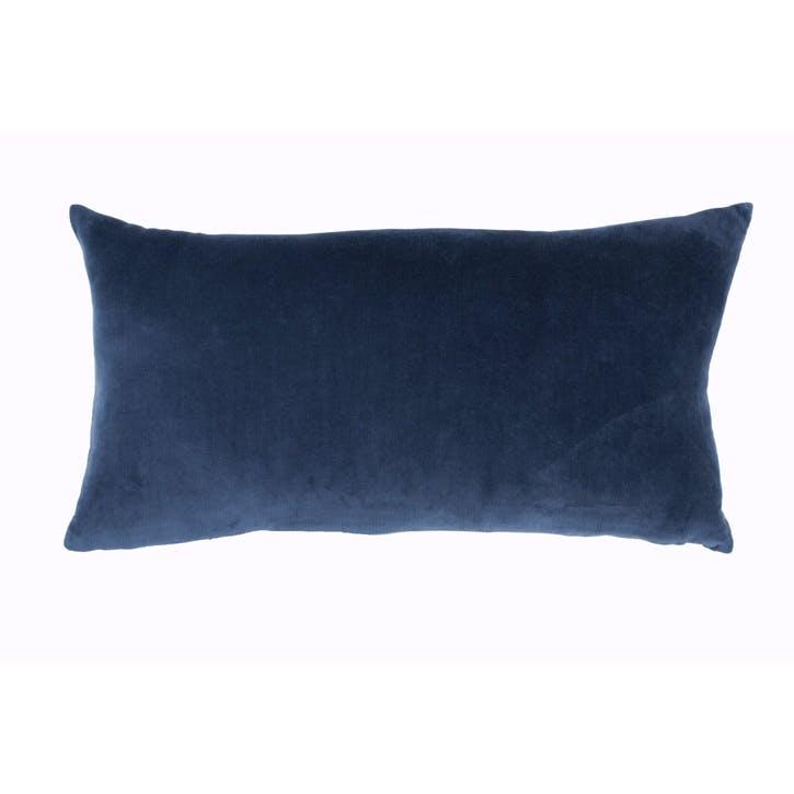 Camo Floral Velvet Cushion, Indigo