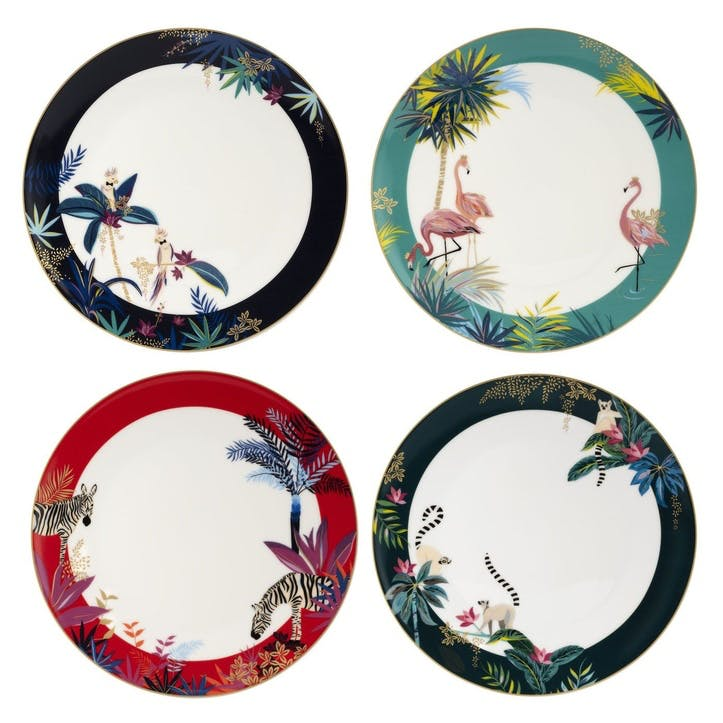 Set of 4 Dinner Plates, Assorted, 28cm