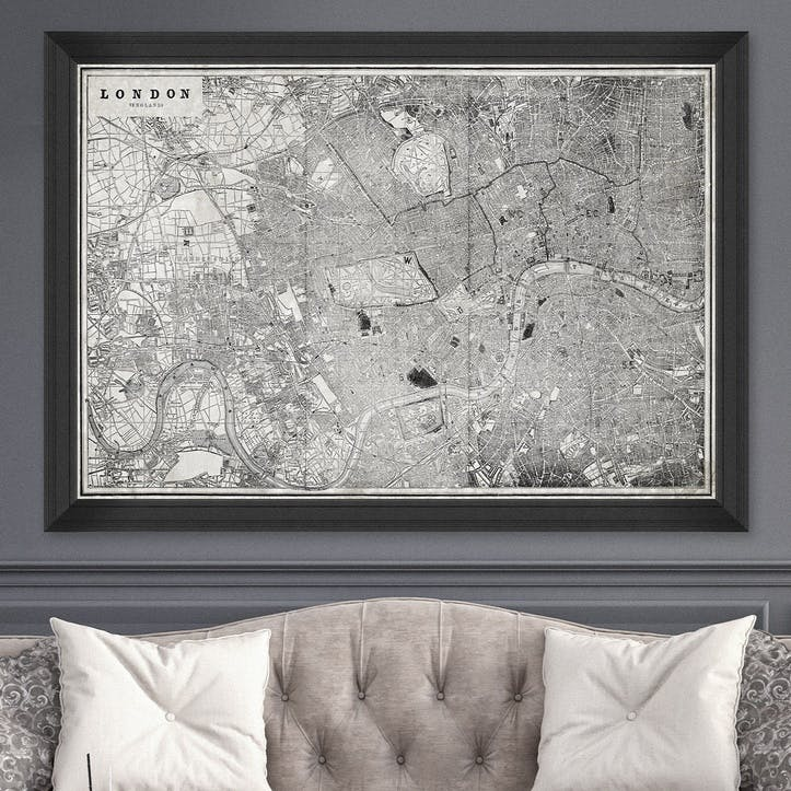 London Map, Black Framed Print,100 x 70cm