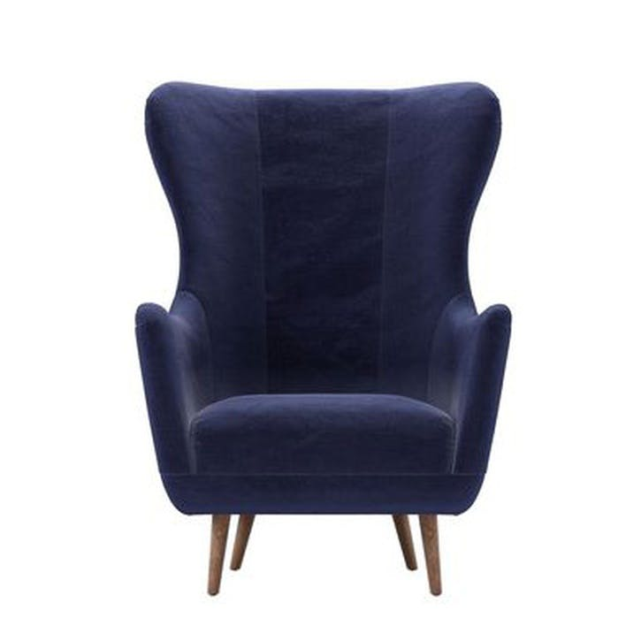 Louis Armchair, Prussian Blue Cotton Matt Velvet