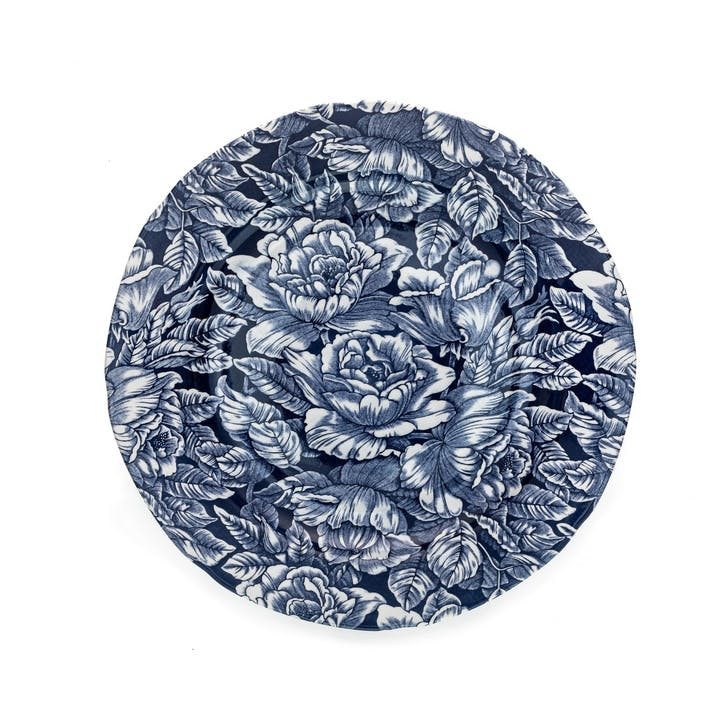 Ink Blue Hibiscus Dinner Plate