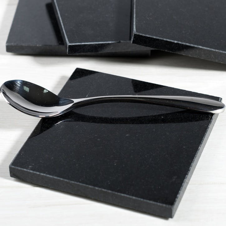 Naturals Black Granite Coasters, Set of 4