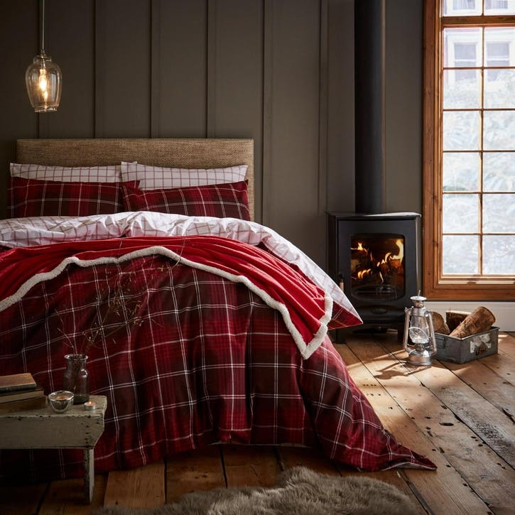 Tartan Check Double Bedding Set, Red