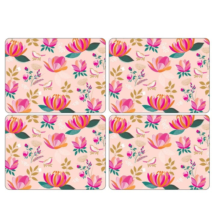 Peony Collection Placemats, Set of 4, Pink