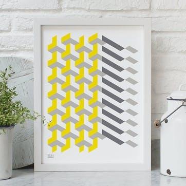 Geometric 'Polygon' Screen Print, 30cm x 40xm, Yellow/Grey