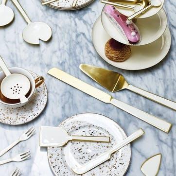 Enamel Wedding Cake Knife Set, Cream
