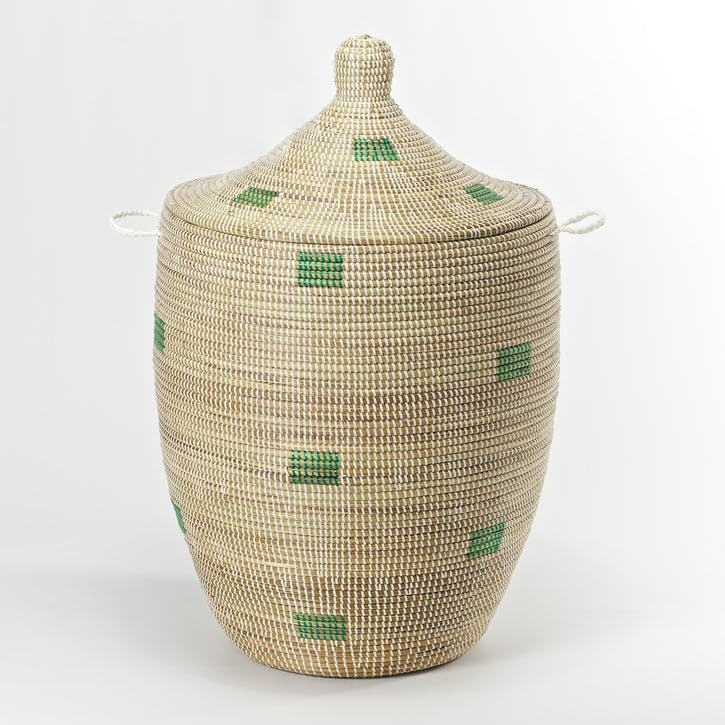 Ali Baba Laundry Basket - Medium; Natural/ Green Squares