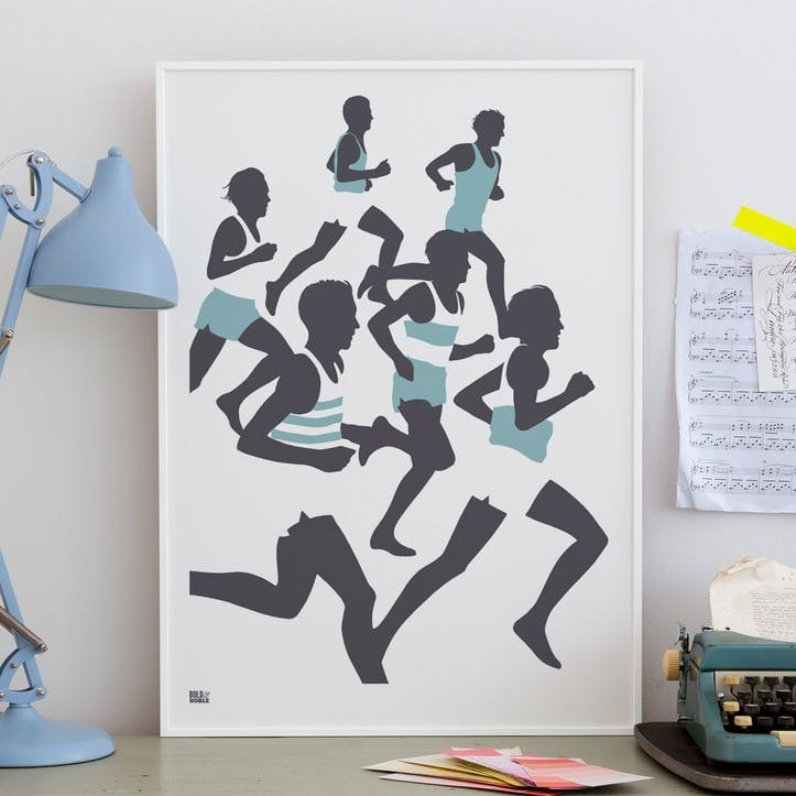 The Runners Screen Print - 50 x 70cm; Coastal Blue