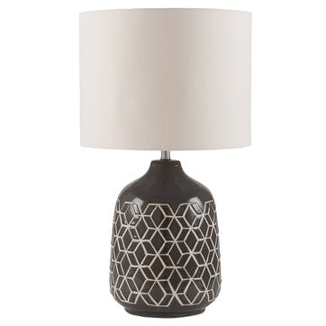 Athena Geo Ceramic Table Lamp; Dark Grey