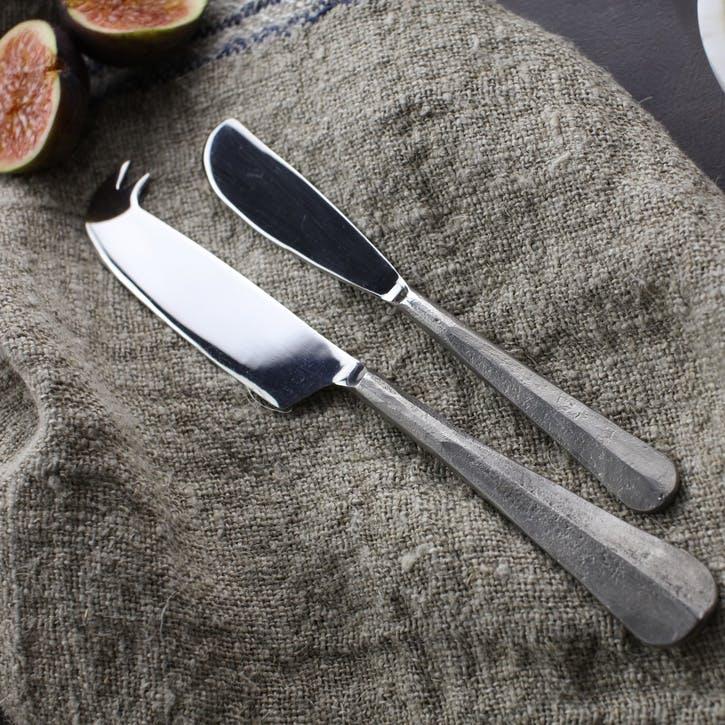 Osko Cheese & Butter Knife Set; Silver