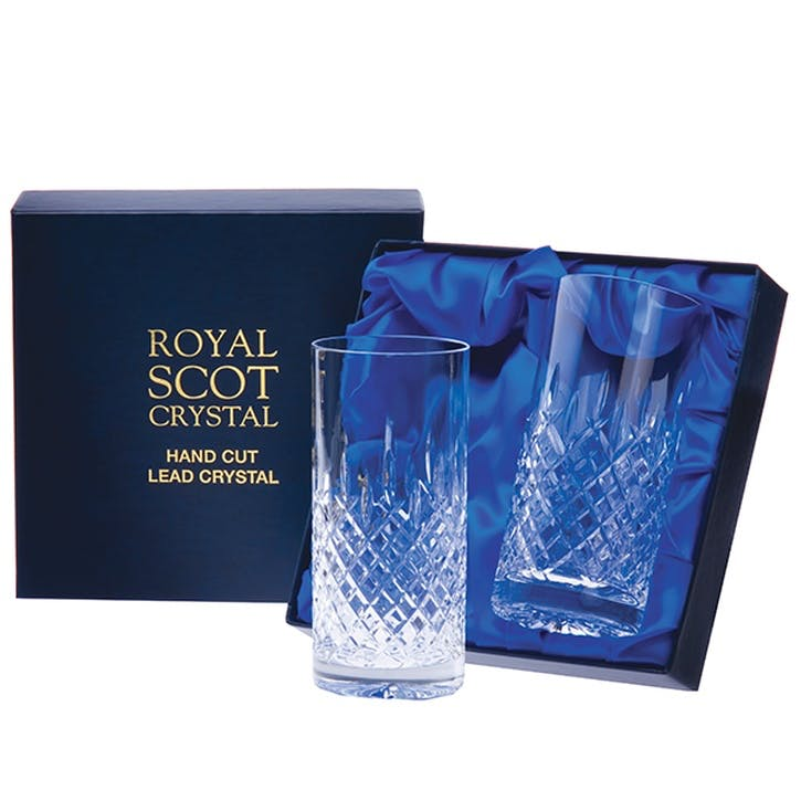 London Tall Crystal Tumblers, Set of 2