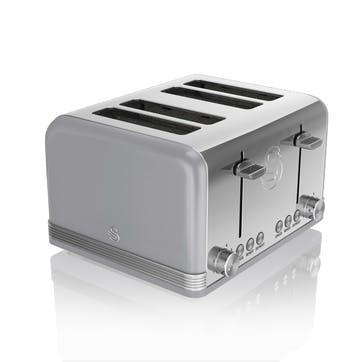 Retro 4-Slice Toaster, Grey