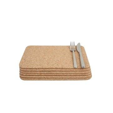 Cork Rectangular Tablemats Set of 6