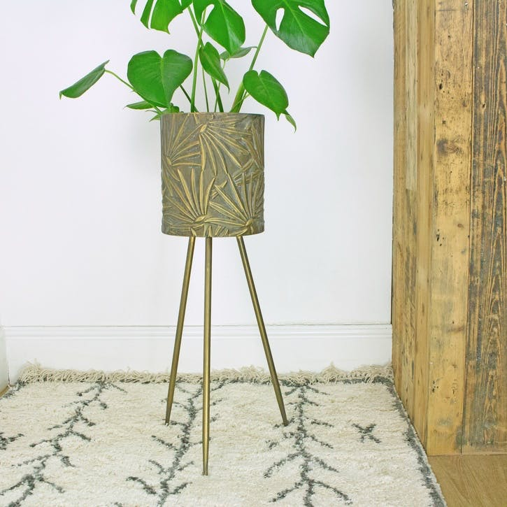 Brass Palm Standing Planter, Large