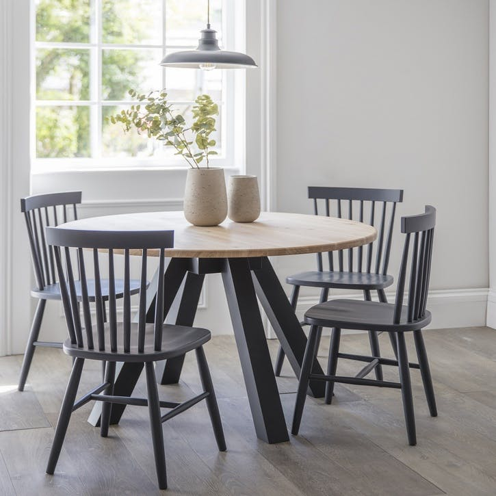 Clockhouse Dining Table with Carbon Legs, Raw Oak