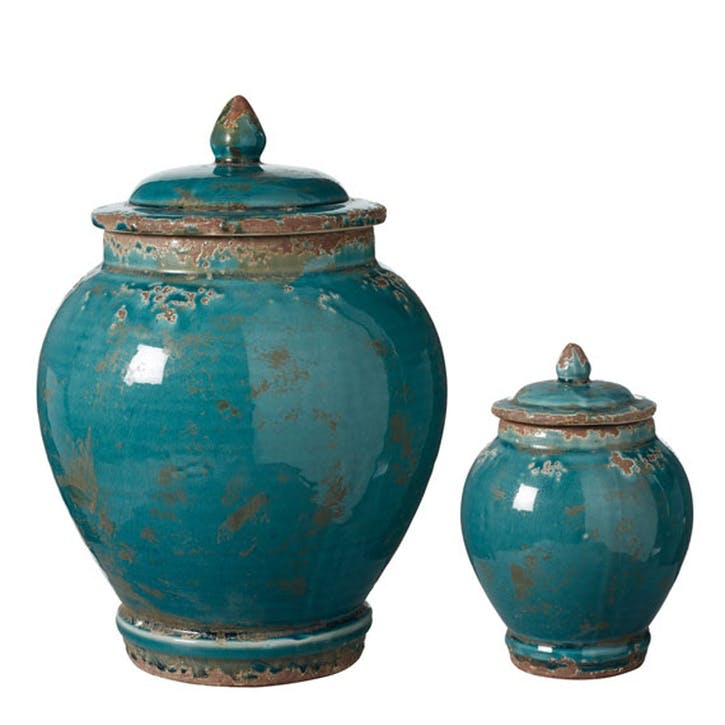 Zion Lidded Urns, Set of Two