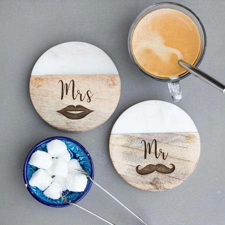 "Pair of ""Mr and Mrs"" Coasters"