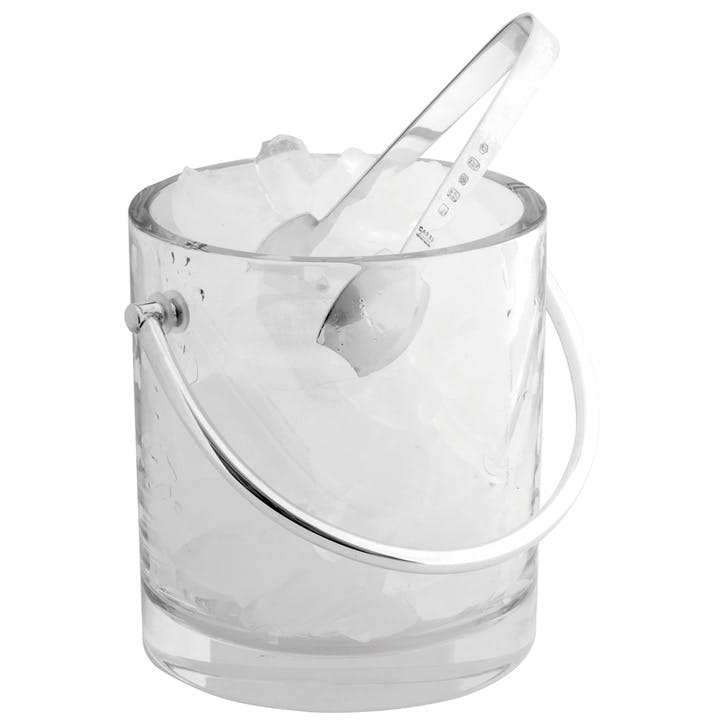 Crystal Ice Bucket & Sterling Silver Tongs Set