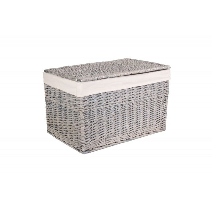 Storage Hamper With Lining, Large, Grey Wash