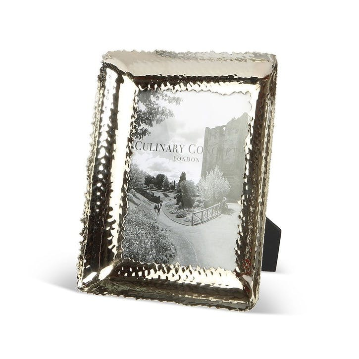 Hammered Finished Medium Photo Frame; Champagne