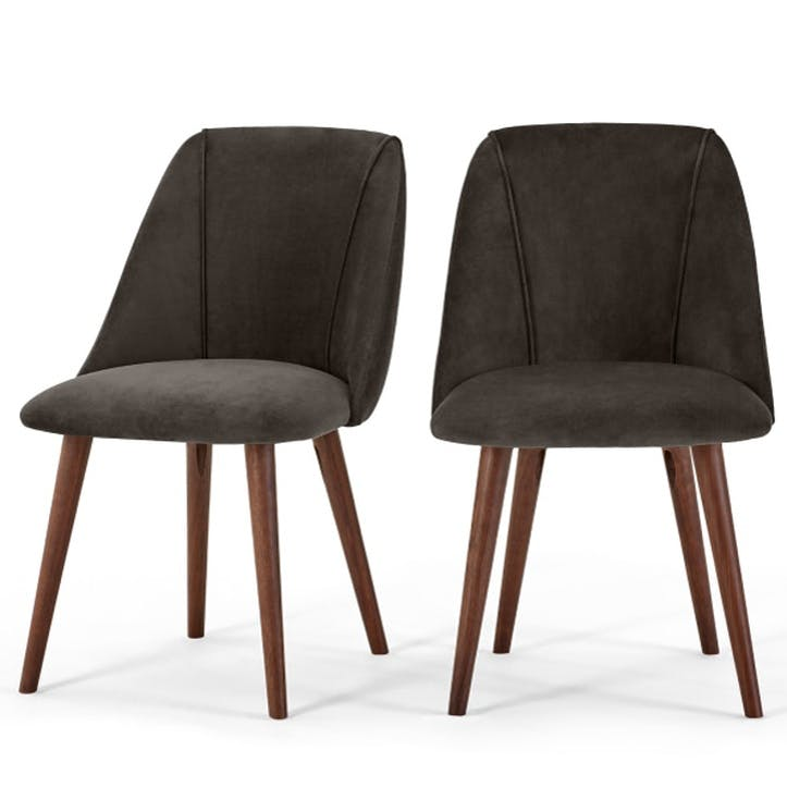 Lule Set of 2 Dining Chairs; Otter Grey Velvet