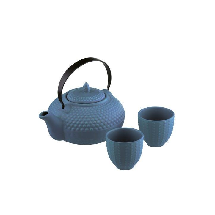 Oriental Hobnail Teapot & Cups Mizu Blue, 85cl