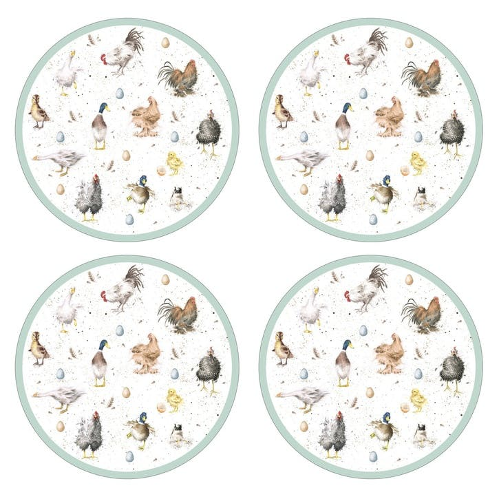 Wrendale Farmyard Feathers Round Placemats, Set of 4