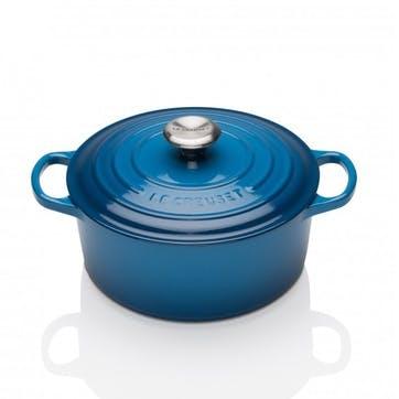 Cast Iron Round Casserole - 22cm; Marseille Blue