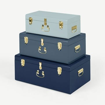 Gunner, Set of 3 Metal Storage Trunks, Tonal blue