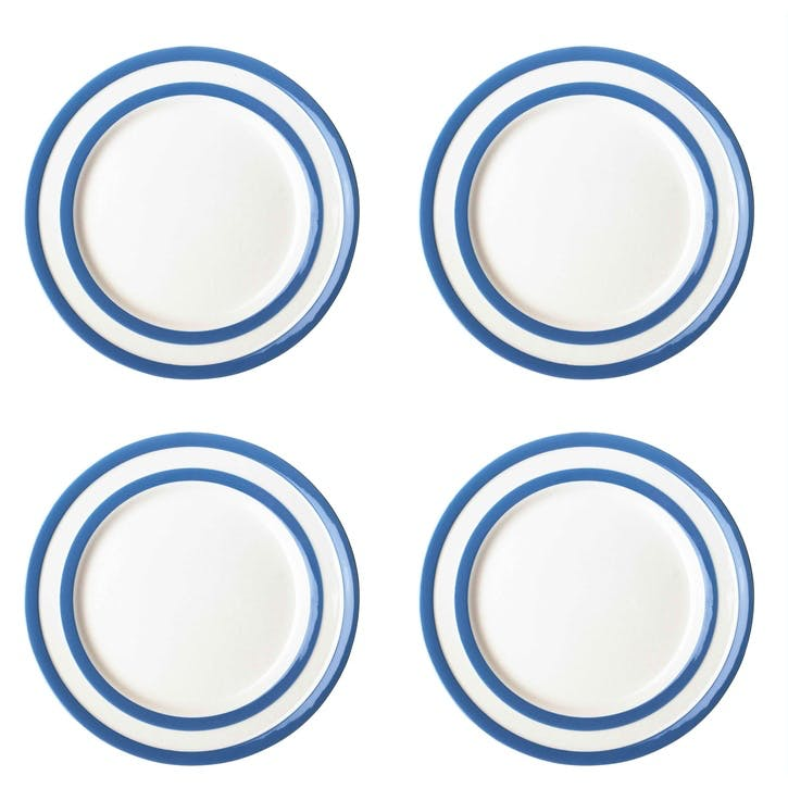 Cornish Blue Breakfast Plates, Set of 4