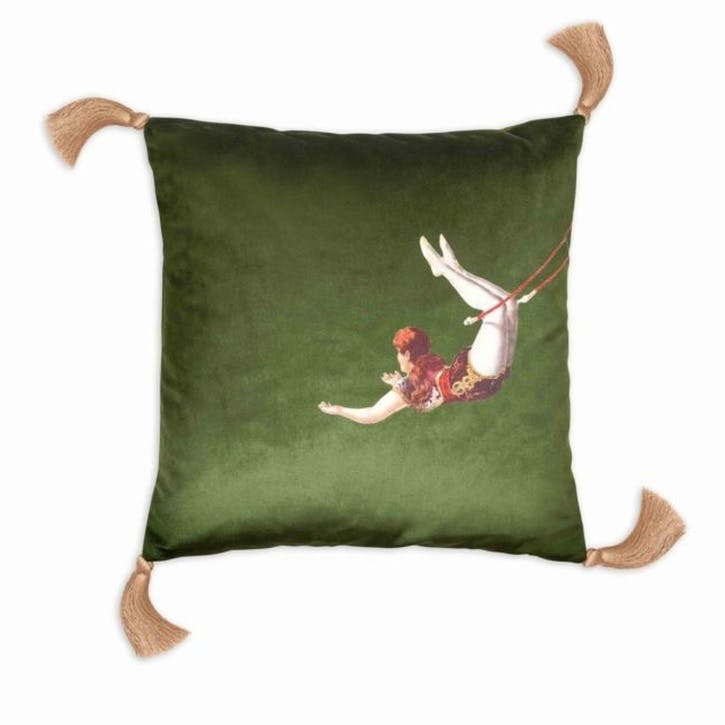 Trapeze Girl Velvet Cushion, Meadow Green