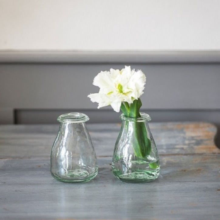 Recycled Glass Set of 2 Bud Vases