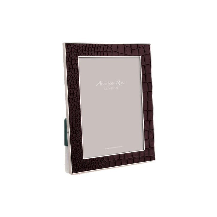 "Silver Plate Faux Croc Photo Frame - 4"" x 6""; Chocolate"