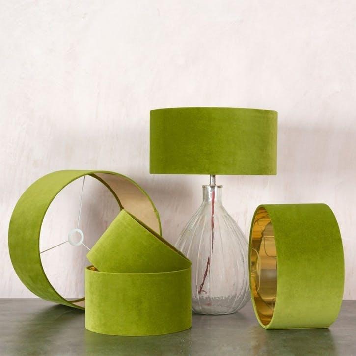 """Pistachio Green Velvet 14"""" Lamp Shade"""