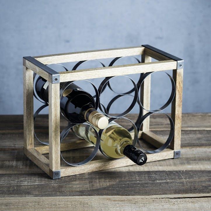Industrial Kitchen Vintage-Style 6-Bottle Metal / Wooden Wine Rack