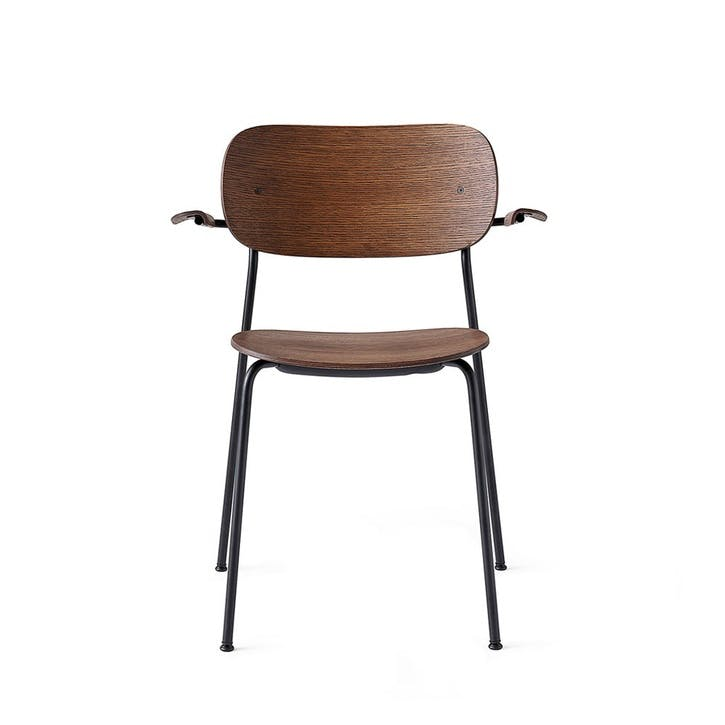 Co, Pair of Dining Chairs, H80 x W62 x D52cm, Dark Stained Oak  & Black Steel