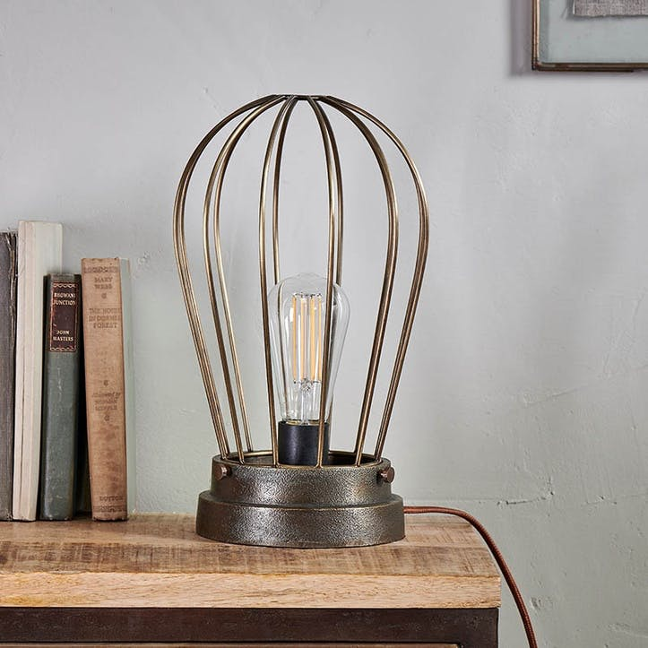 Paru Industrial Caged Lamp, Antique Brass
