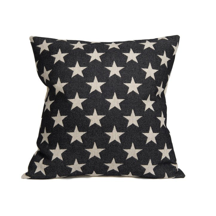 Antares Star Cushion Linen On Black, 60cm