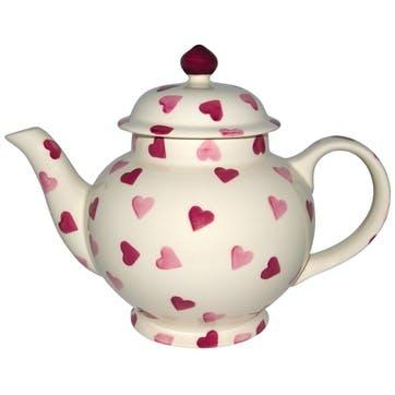 Pink Hearts 4 Mug Teapot Boxed