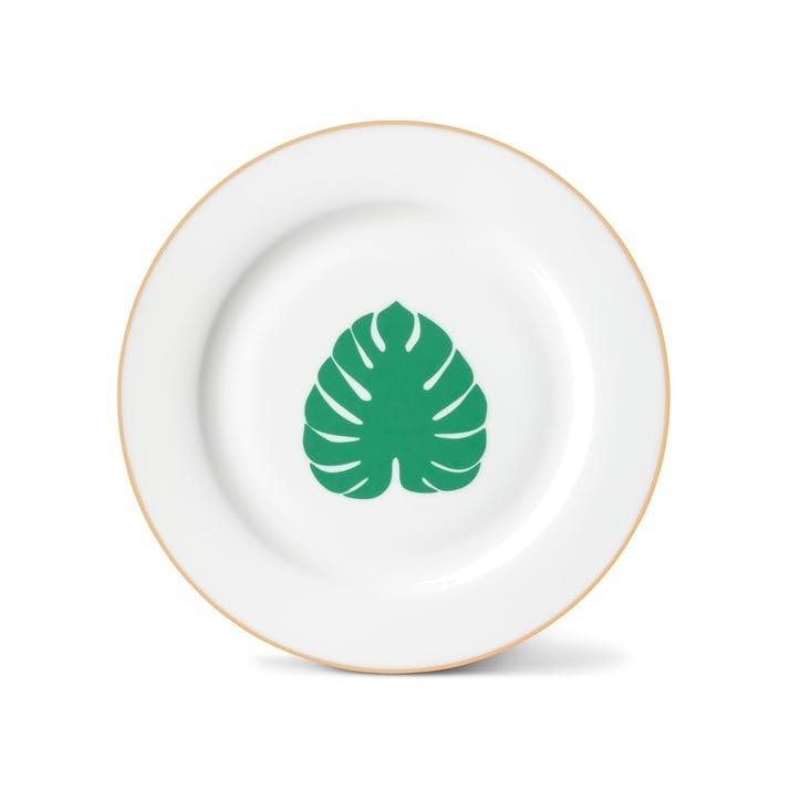 Tropical Leaf Side Plate with Gold Rim