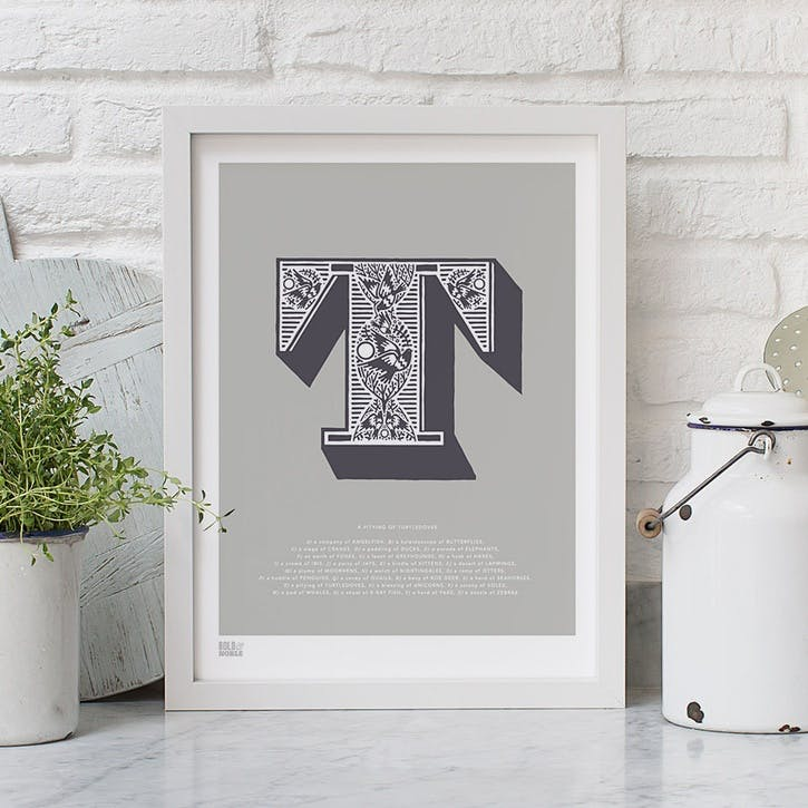 Illustrated Letter T Screen Print, 30cm x 40cm, Putty
