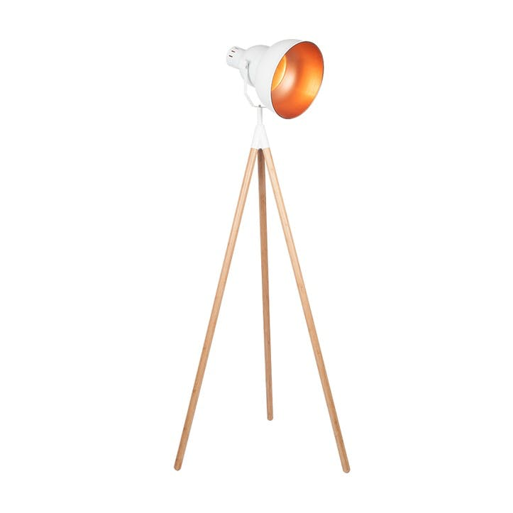Larkin Tripod Floor Light; White & Copper