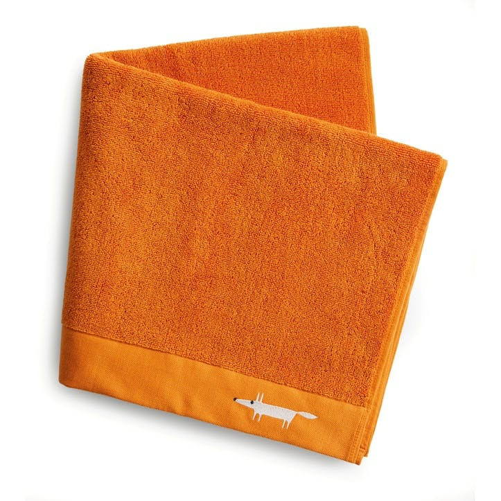Mr Fox Embroidered Bath Towel, Mandarin