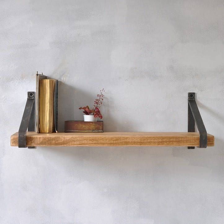 Manhattan Industrial Wood Shelf - 50 x 22cm; Natural