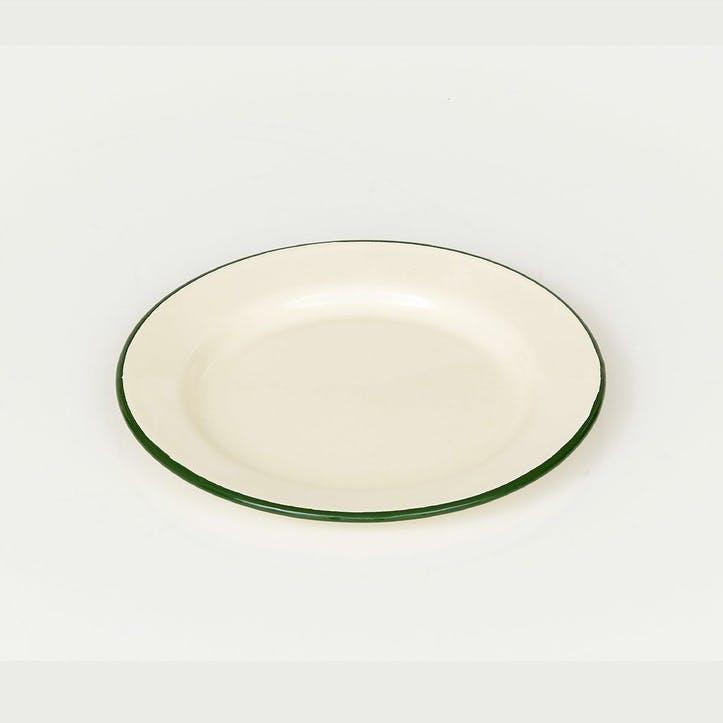 Enamel Plate, Green Trim
