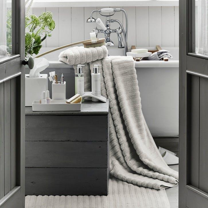 Hydrocotton Ribbed Bath Mat , Pearl Grey, Medium
